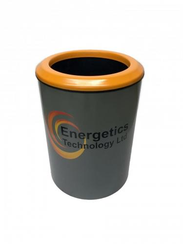 Halo80_Grey_Orange_Lid_Blast resistant Litter Bin